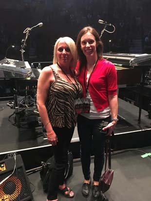 Sandra Coussa and Marie-Hélène Cyr on Bon Jovi stage in Montreal, Quebec, Canada (May 17, 2018)