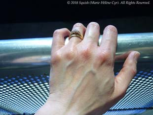 Marie-Hélène Cyr's hand during the Bon Jovi show in Montreal, Quebec, Canada (May 18, 2018)