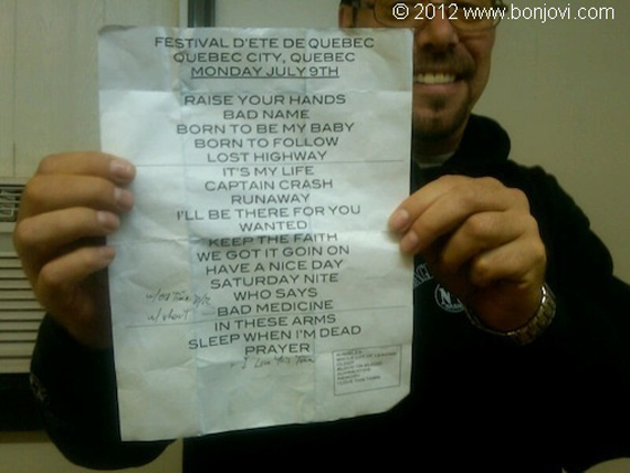 Official set list of the Bon Jovi show at the Festival d'été de Québec on the plains of Abraham, Quebec, Canada (July 9, 2012)